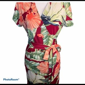 Ann Taylor hibiscus tropical print wrap dress 6P